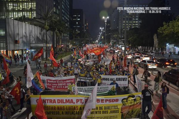 Marcha Nacional, manifestação contra do governo Dilma, o PT, PSDB, PMDB e a política econômica do governo federal. nas ruas da cidade de São Paulo, SP. 18/09/2015. Foto: Jesus Carlos.