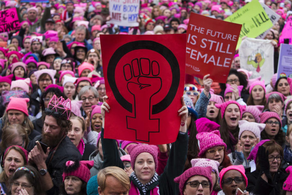 Thousands of protesters gather to demonstrate against Donald Trump's inauguration at the Women's March in Washington, Jan. 21, 2017. (Ruth Fremson/The New York Times)